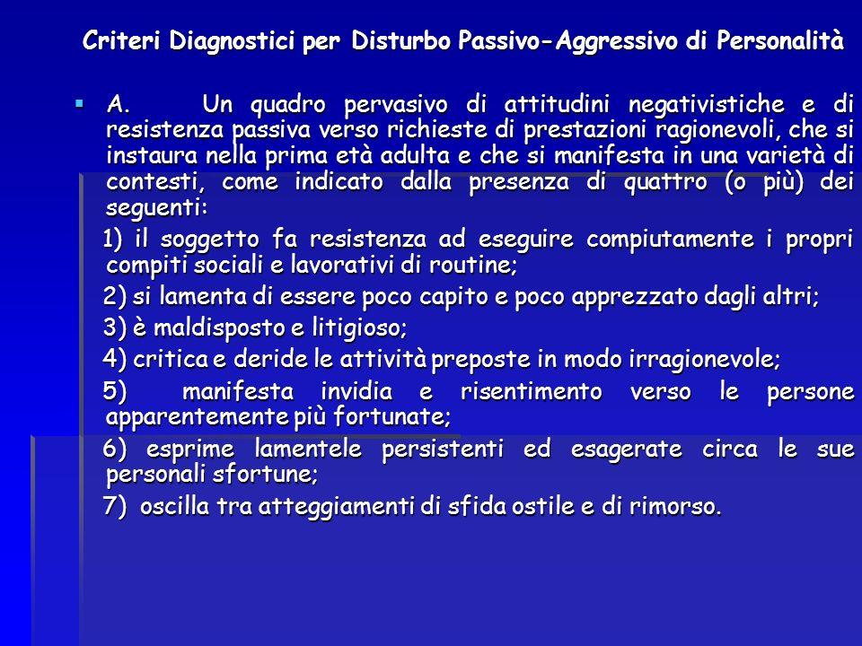 Criteri Diagnostici per Disturbo Passivo-Aggressivo di Personalità