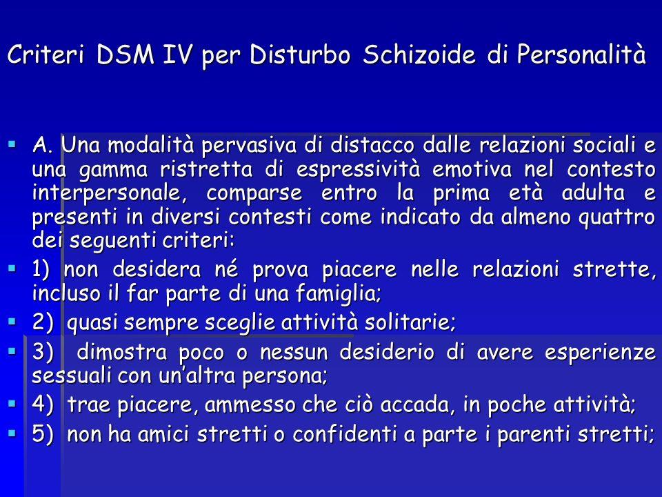 Criteri DSM IV per Disturbo Schizoide di Personalità