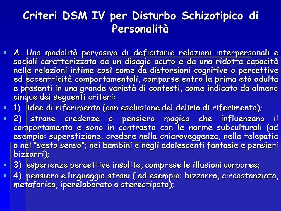 Criteri DSM IV per Disturbo Schizotipico di Personalità