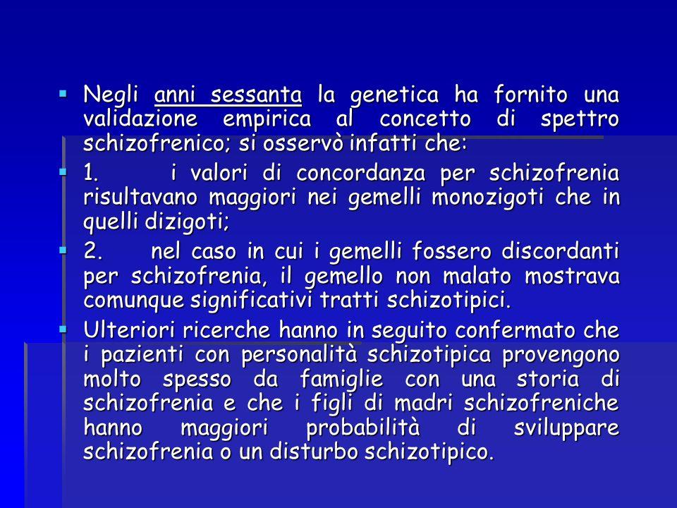 Negli anni sessanta la genetica ha fornito una validazione empirica al concetto di spettro schizofrenico; si osservò infatti che: