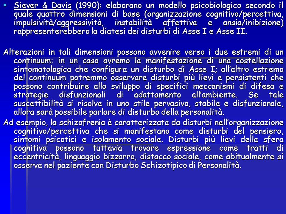Siever & Davis (1990): elaborano un modello psicobiologico secondo il quale quattro dimensioni di base (organizzazione cognitivo/percettiva, impulsività/aggressività, instabilità affettiva e ansia/inibizione) rappresenterebbero la diatesi dei disturbi di Asse I e Asse II.