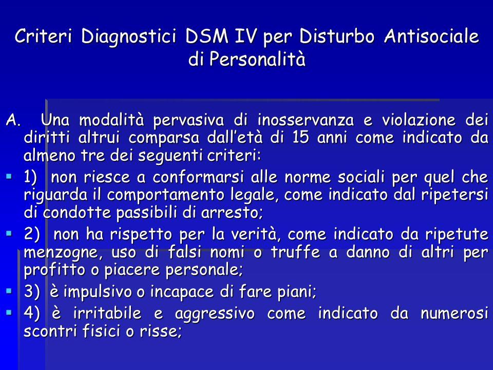 Criteri Diagnostici DSM IV per Disturbo Antisociale di Personalità