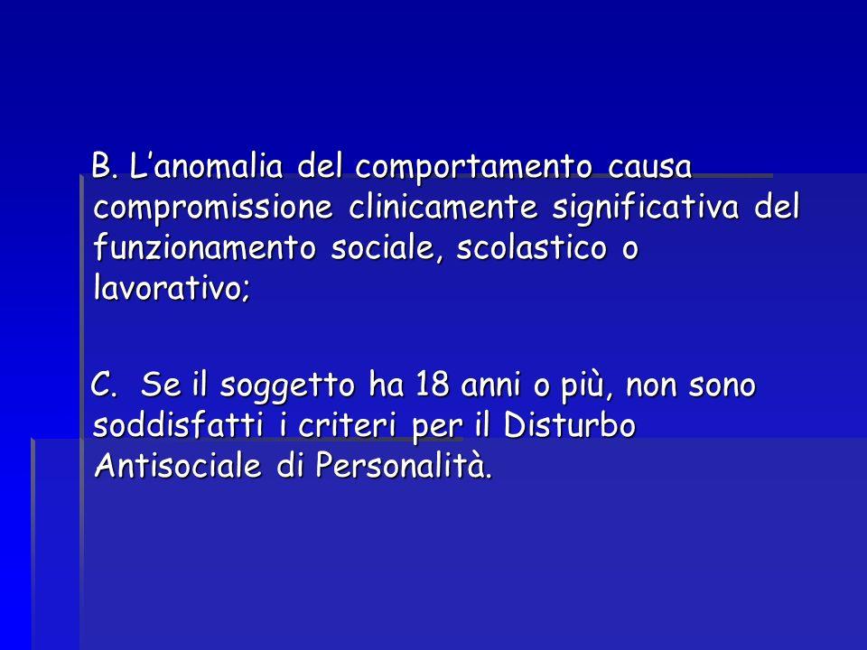 B. L'anomalia del comportamento causa compromissione clinicamente significativa del funzionamento sociale, scolastico o lavorativo;