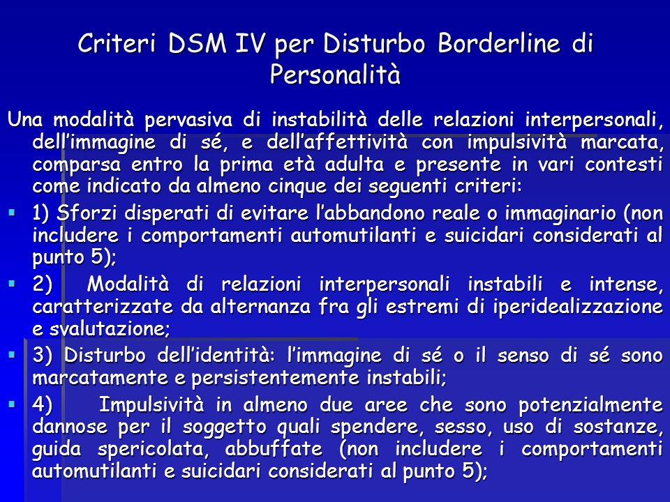 Criteri DSM IV per Disturbo Borderline di Personalità