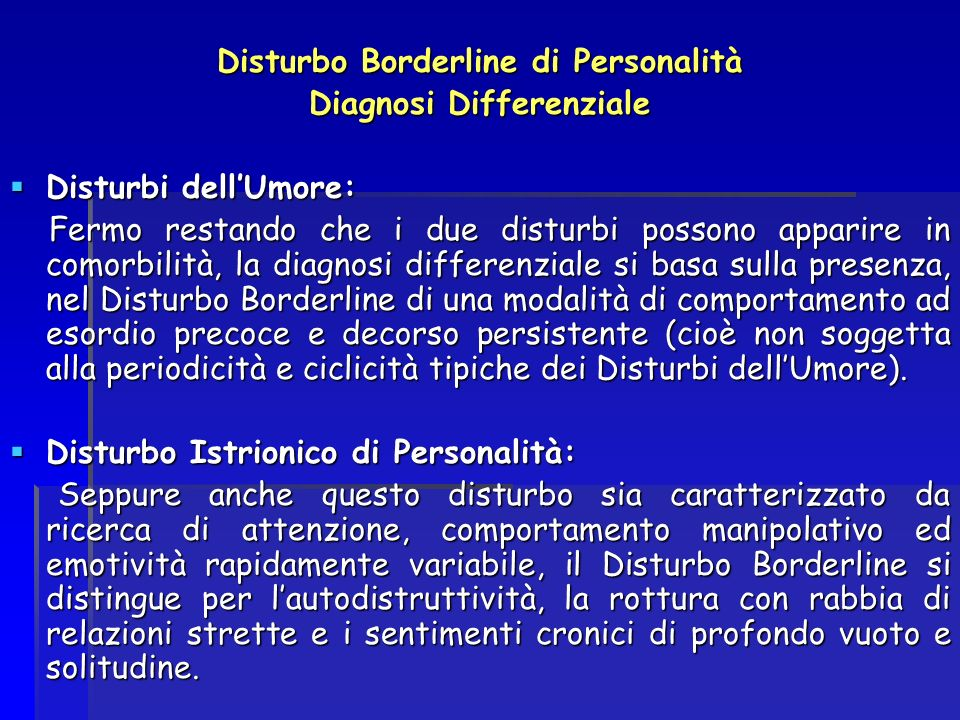 Disturbo Borderline di Personalità Diagnosi Differenziale