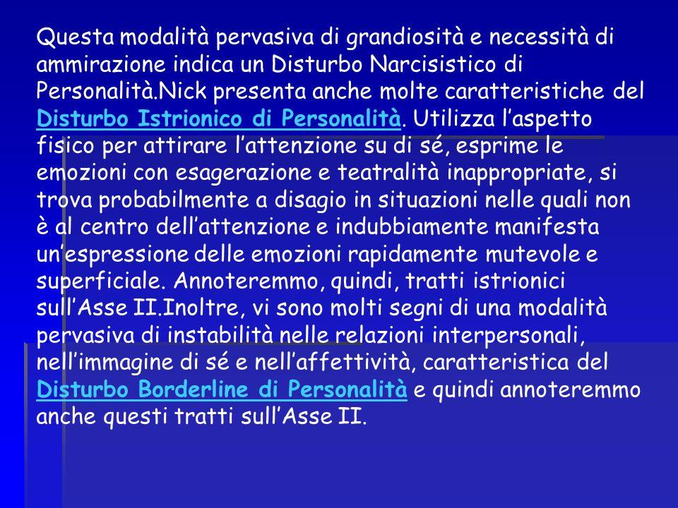 Questa modalità pervasiva di grandiosità e necessità di ammirazione indica un Disturbo Narcisistico di Personalità.Nick presenta anche molte caratteristiche del Disturbo Istrionico di Personalità.