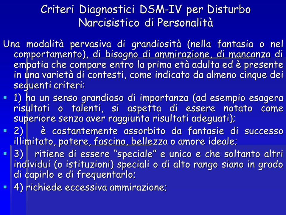Criteri Diagnostici DSM-IV per Disturbo Narcisistico di Personalità