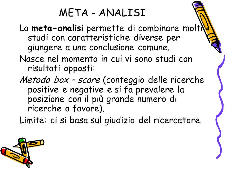 META - ANALISI La meta-analisi permette di combinare molti studi con caratteristiche diverse per giungere a una conclusione comune.