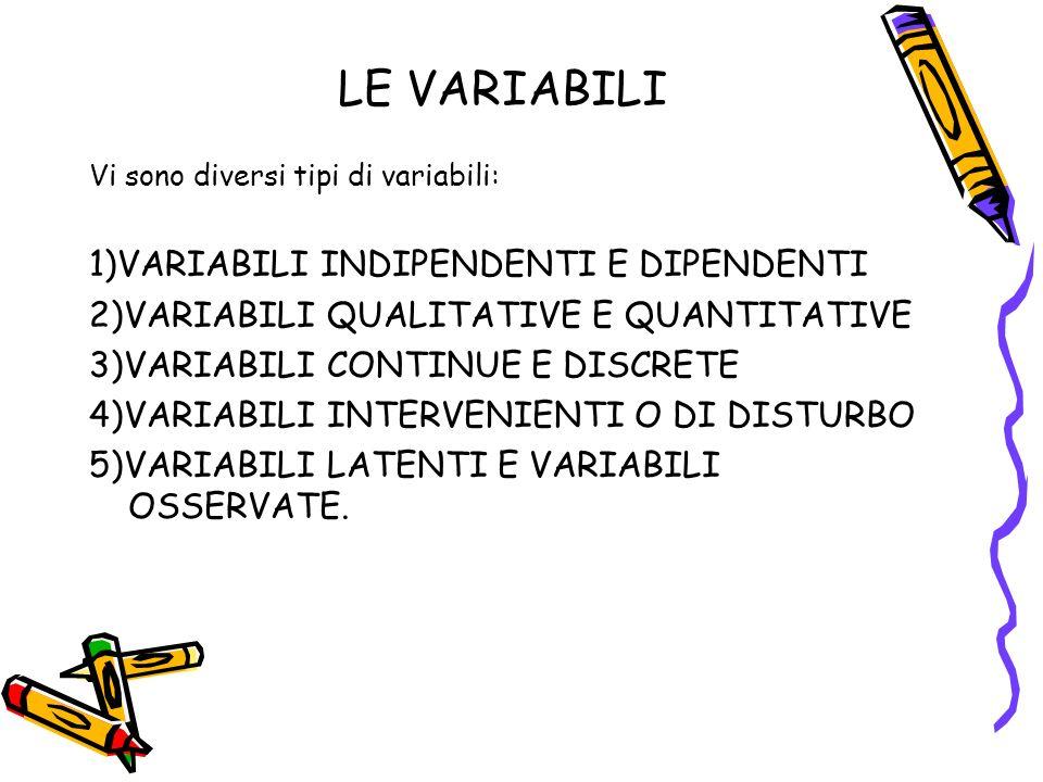 LE VARIABILI 1)VARIABILI INDIPENDENTI E DIPENDENTI
