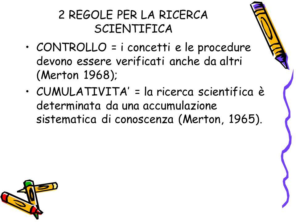 2 REGOLE PER LA RICERCA SCIENTIFICA