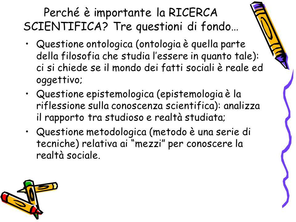 Perché è importante la RICERCA SCIENTIFICA Tre questioni di fondo…