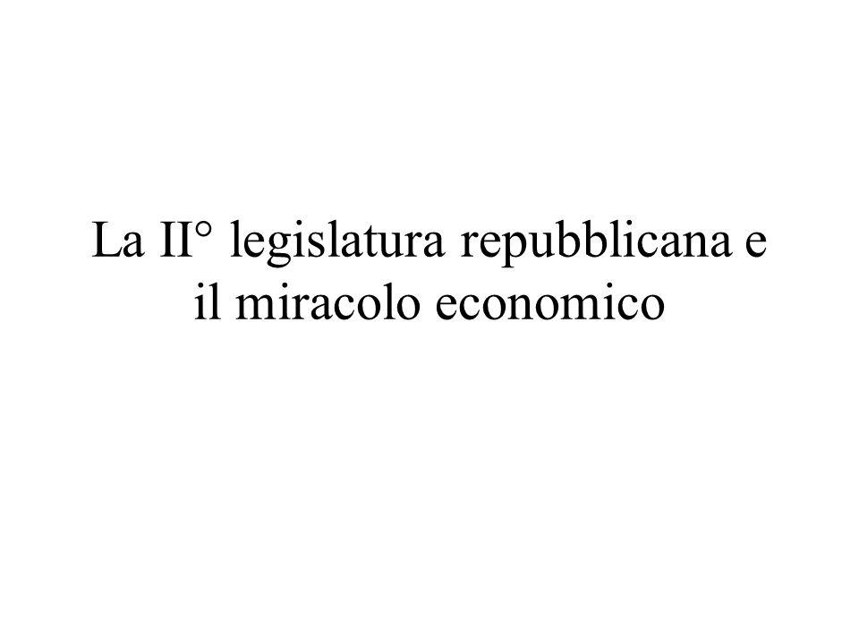 La II° legislatura repubblicana e il miracolo economico