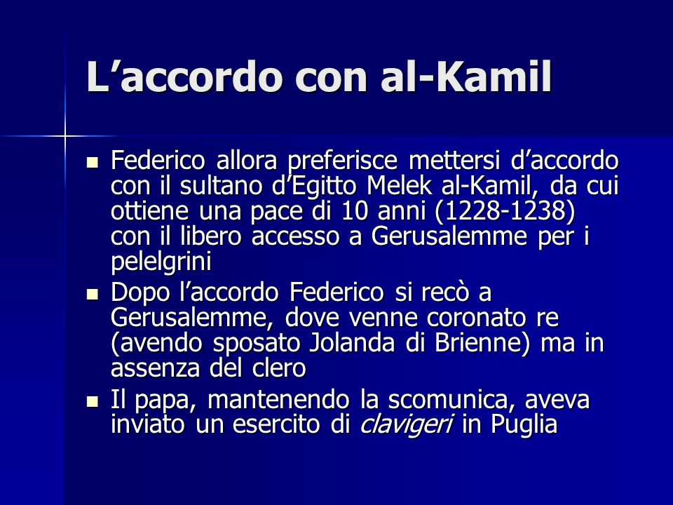 L'accordo con al-Kamil