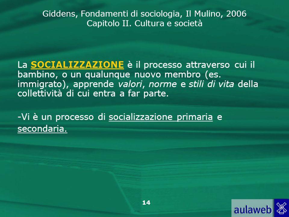 La SOCIALIZZAZIONE è il processo attraverso cui il bambino, o un qualunque nuovo membro (es. immigrato), apprende valori, norme e stili di vita della collettività di cui entra a far parte.