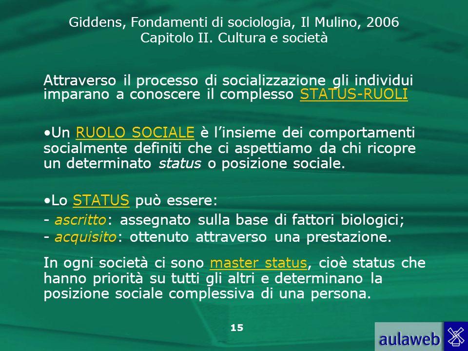 Attraverso il processo di socializzazione gli individui imparano a conoscere il complesso STATUS-RUOLI
