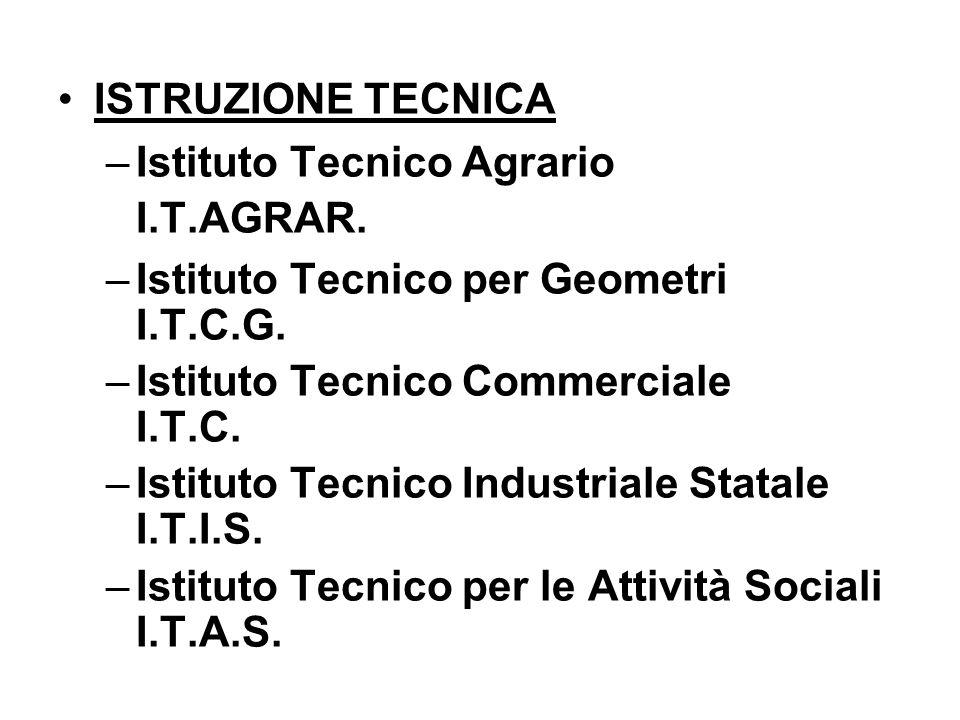 ISTRUZIONE TECNICA Istituto Tecnico Agrario I.T.AGRAR. Istituto Tecnico per Geometri I.T.C.G.