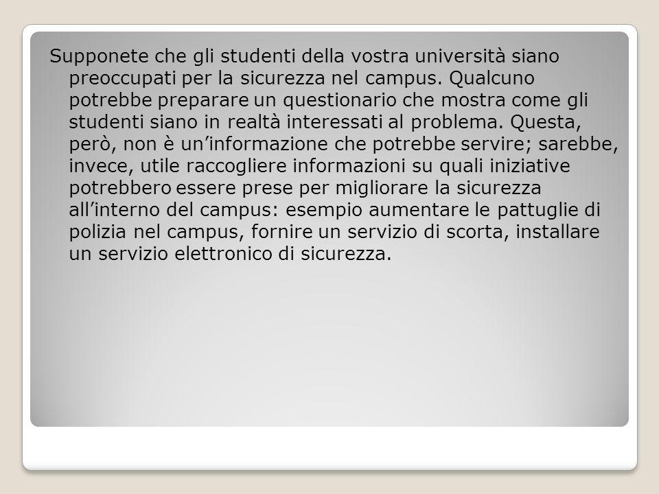 Supponete che gli studenti della vostra università siano preoccupati per la sicurezza nel campus.