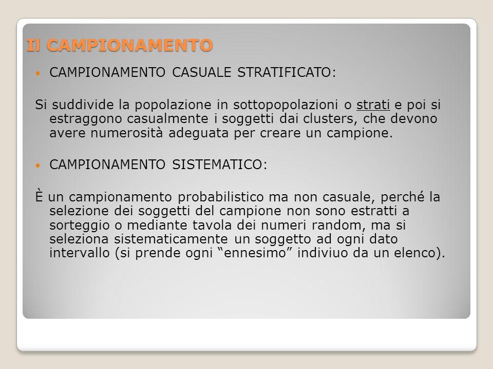 Il CAMPIONAMENTO CAMPIONAMENTO CASUALE STRATIFICATO: