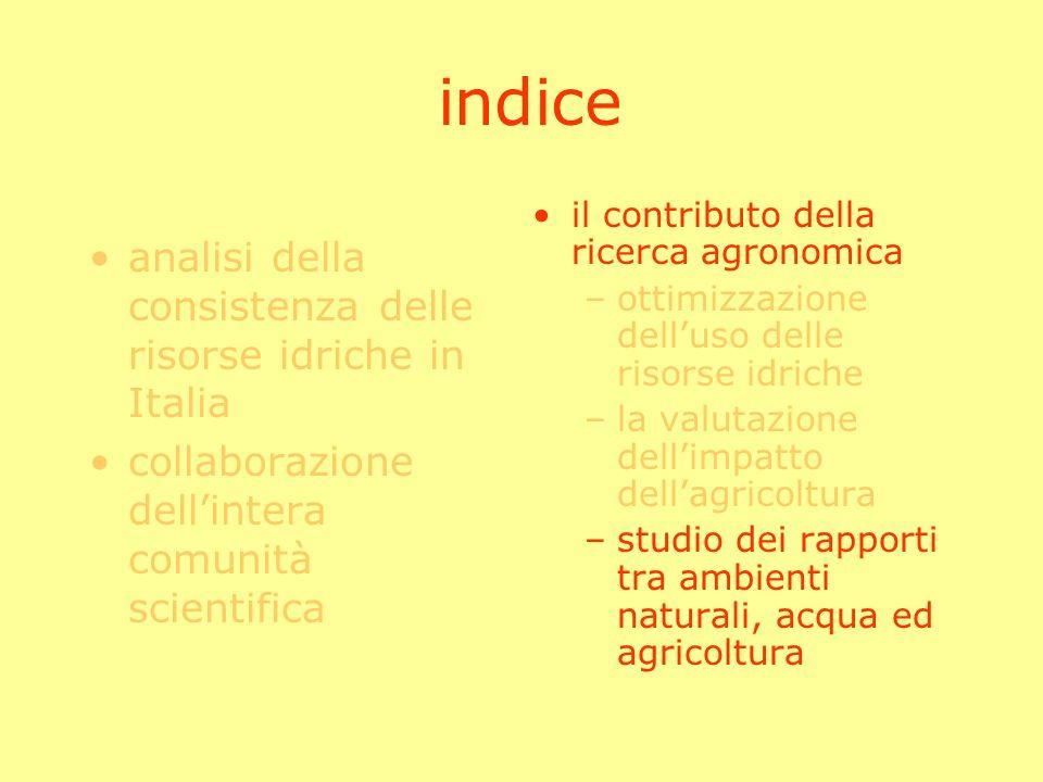 indice analisi della consistenza delle risorse idriche in Italia