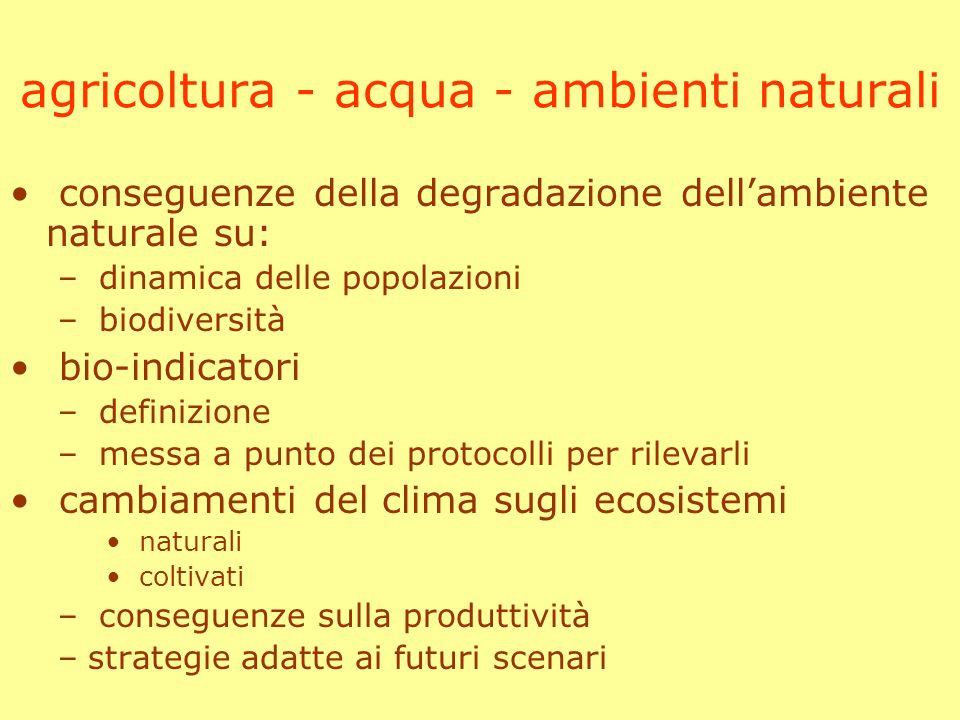 agricoltura - acqua - ambienti naturali