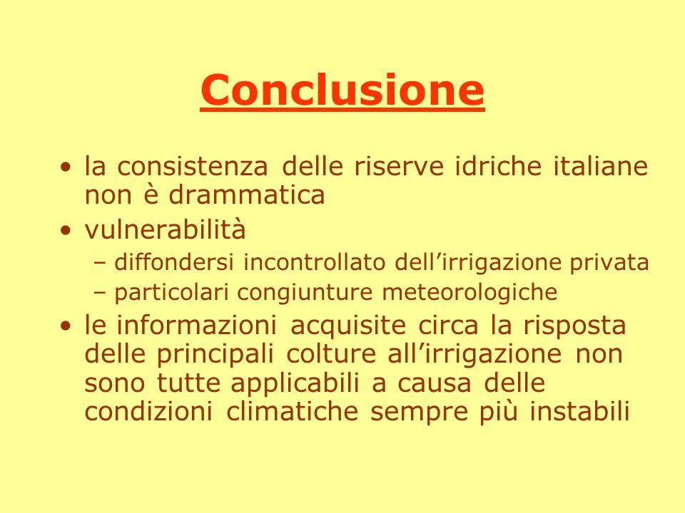 Conclusione la consistenza delle riserve idriche italiane non è drammatica. vulnerabilità. diffondersi incontrollato dell'irrigazione privata.