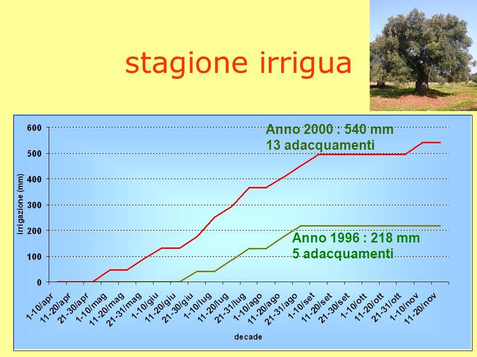 stagione irrigua Anno 2000 : 540 mm 13 adacquamenti