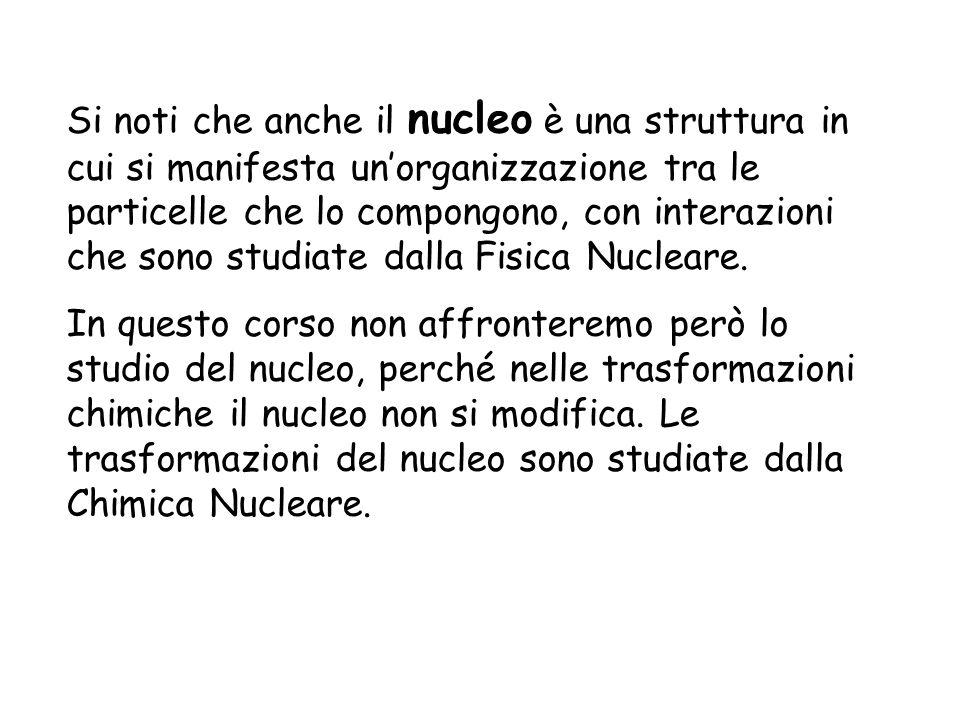 Si noti che anche il nucleo è una struttura in cui si manifesta un'organizzazione tra le particelle che lo compongono, con interazioni che sono studiate dalla Fisica Nucleare.