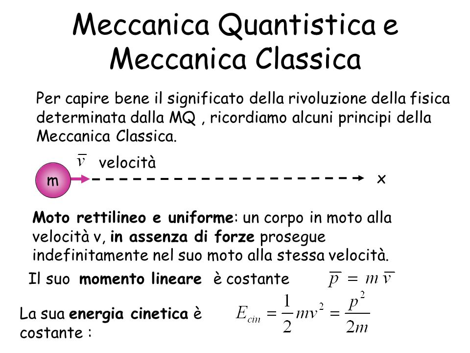 Meccanica Quantistica e Meccanica Classica