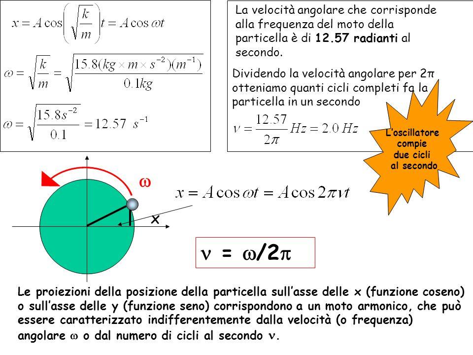 La velocità angolare che corrisponde alla frequenza del moto della particella è di 12.57 radianti al secondo.