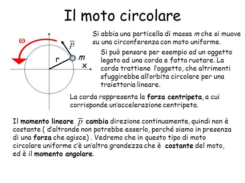 Il moto circolare Si abbia una particella di massa m che si muove su una circonferenza con moto uniforme.