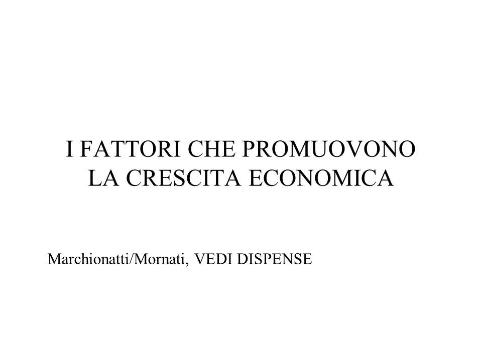 I FATTORI CHE PROMUOVONO LA CRESCITA ECONOMICA