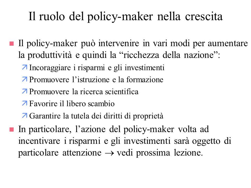Il ruolo del policy-maker nella crescita