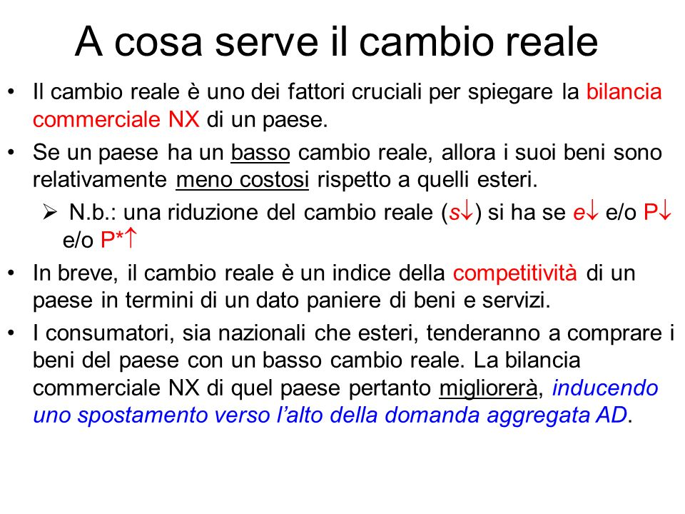 A cosa serve il cambio reale