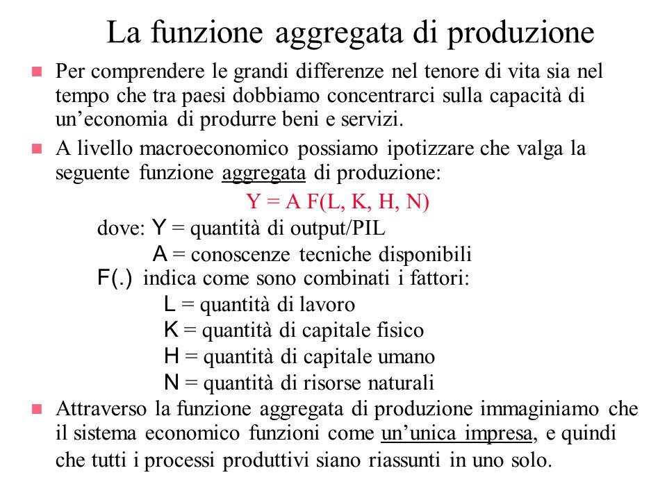 La funzione aggregata di produzione