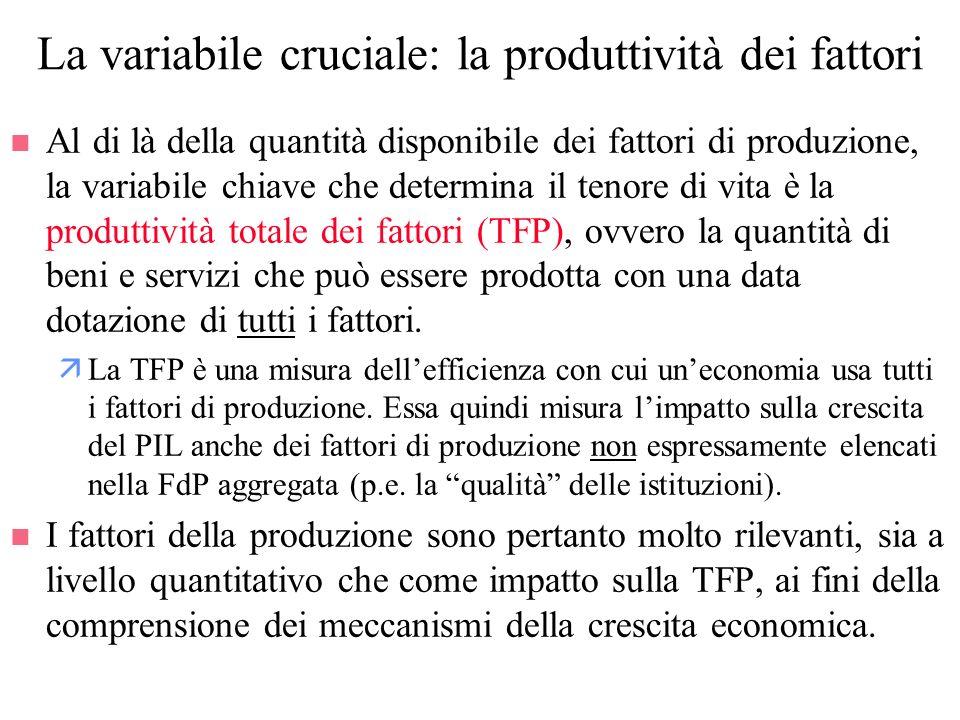 La variabile cruciale: la produttività dei fattori