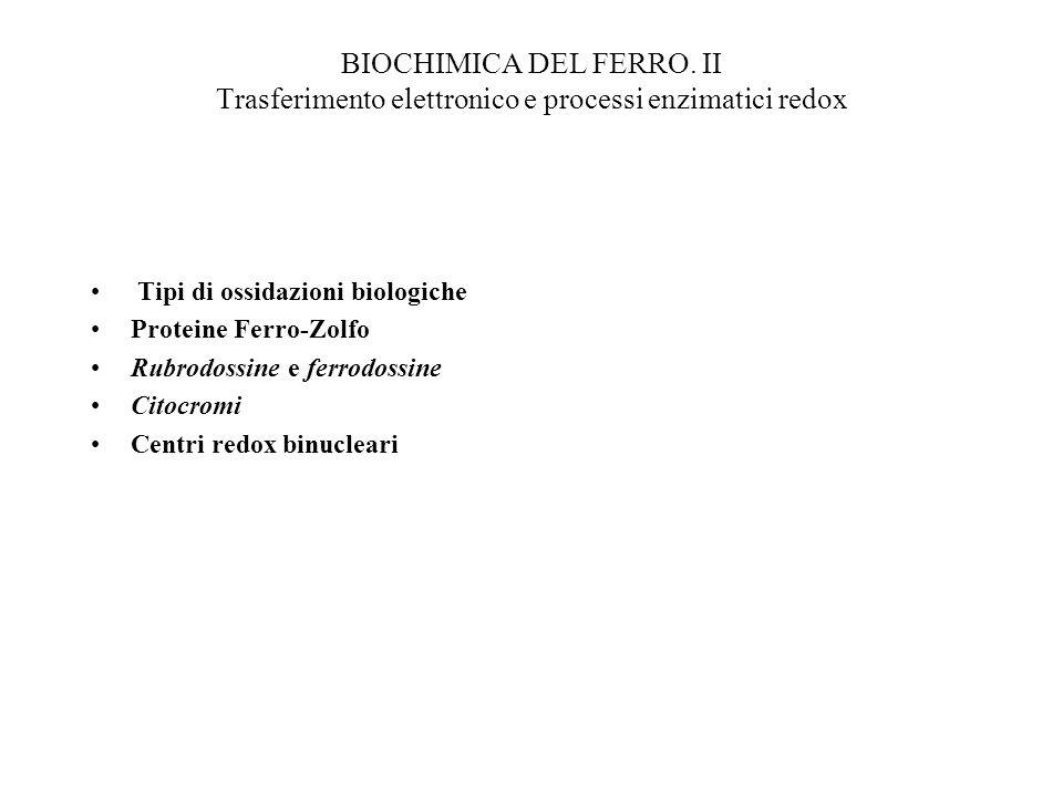 BIOCHIMICA DEL FERRO. II Trasferimento elettronico e processi enzimatici redox
