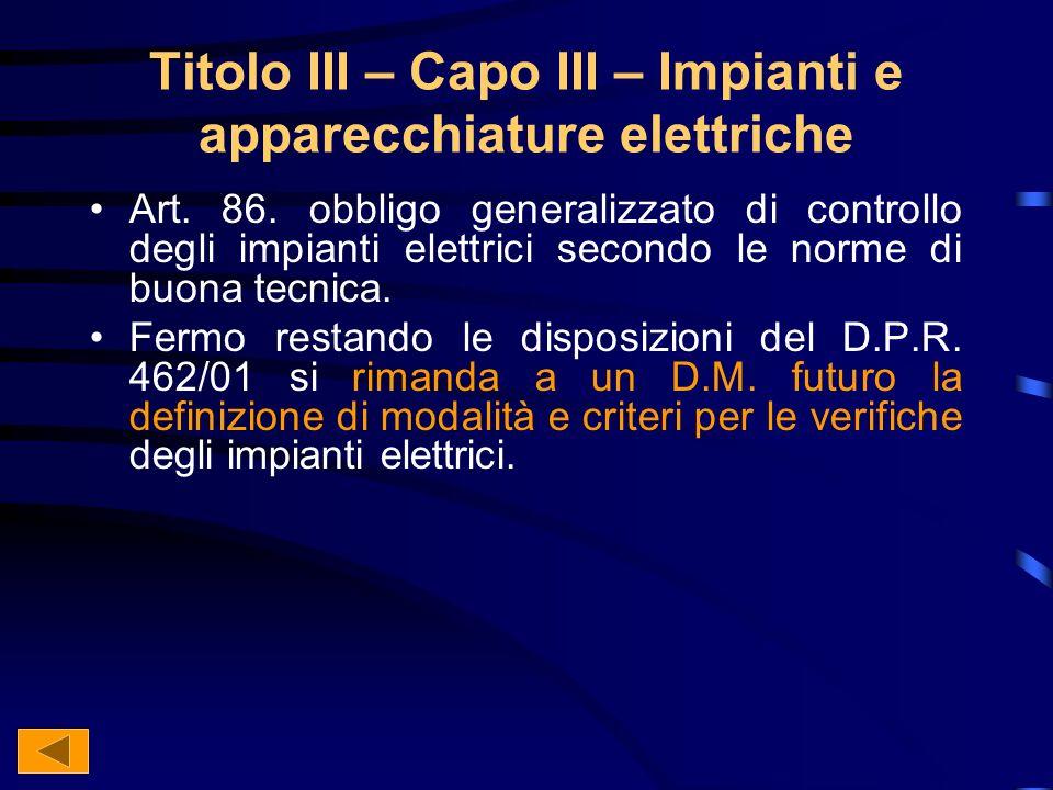 Titolo III – Capo III – Impianti e apparecchiature elettriche