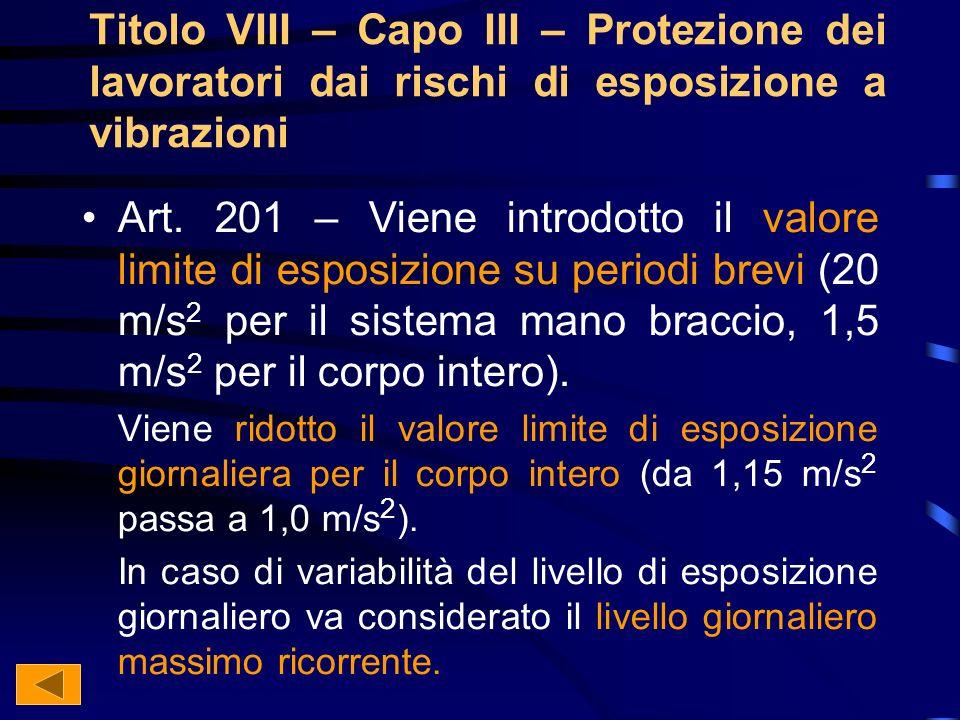 Titolo VIII – Capo III – Protezione dei lavoratori dai rischi di esposizione a vibrazioni