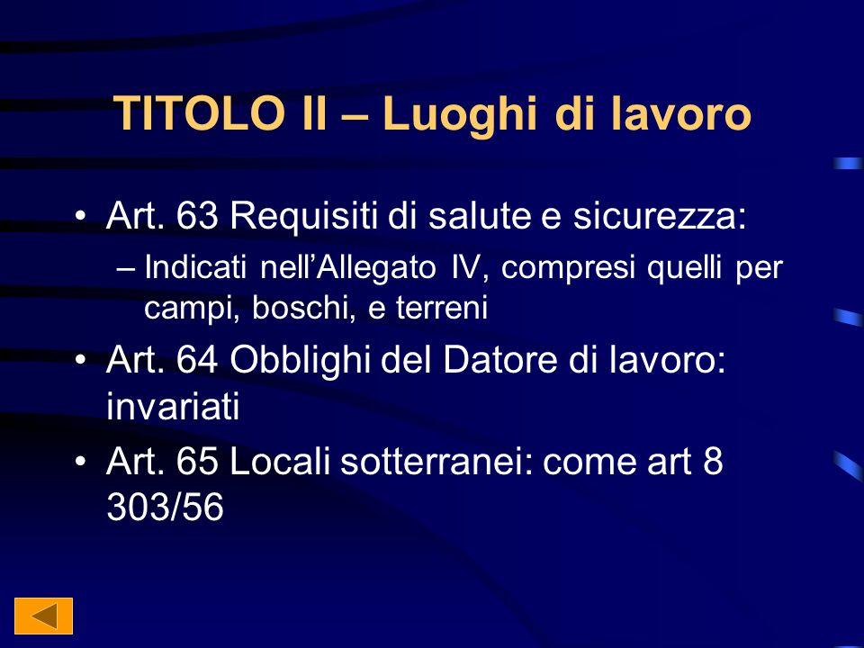 TITOLO II – Luoghi di lavoro