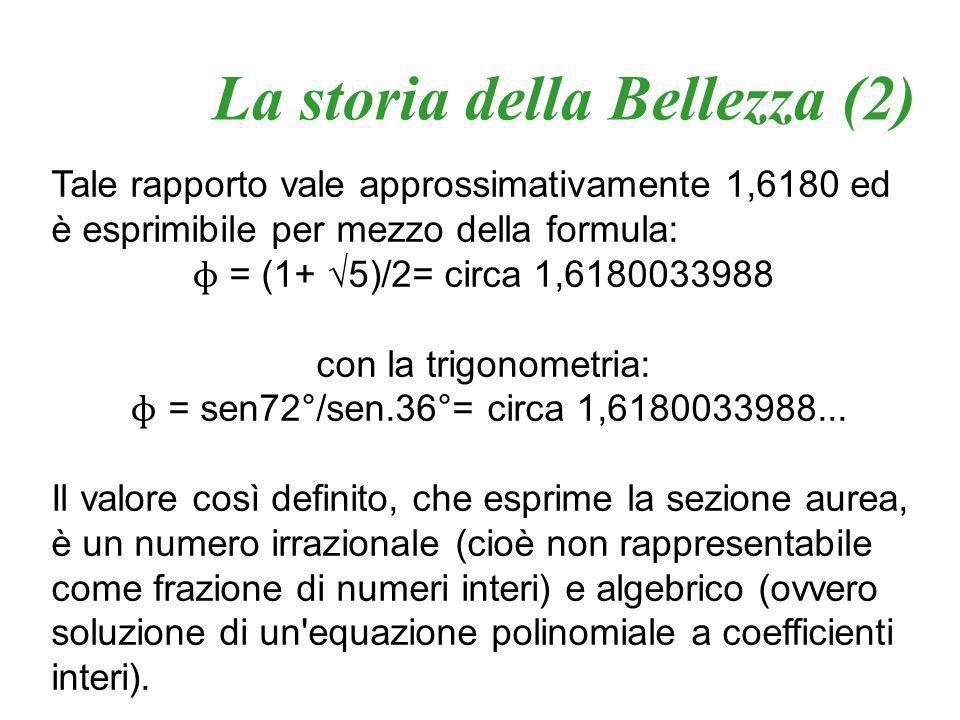 con la trigonometria: ɸ = sen72°/sen.36°= circa 1,6180033988...