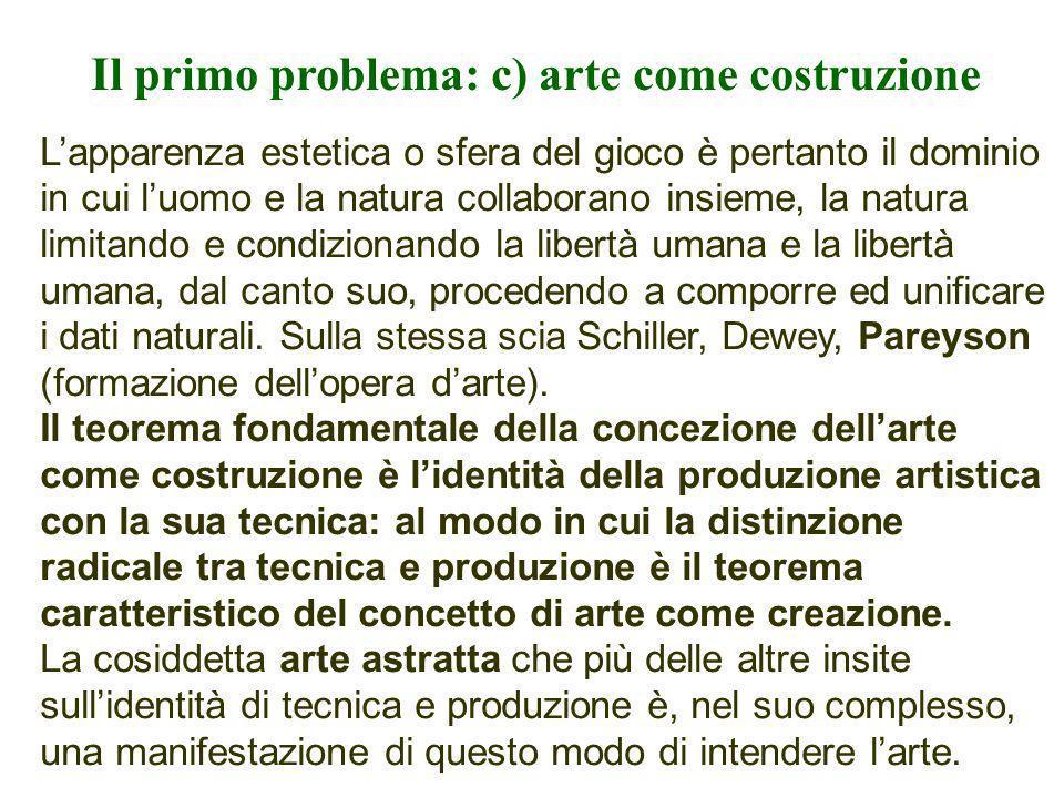Il primo problema: c) arte come costruzione