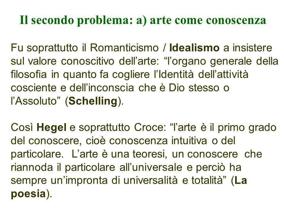 Il secondo problema: a) arte come conoscenza