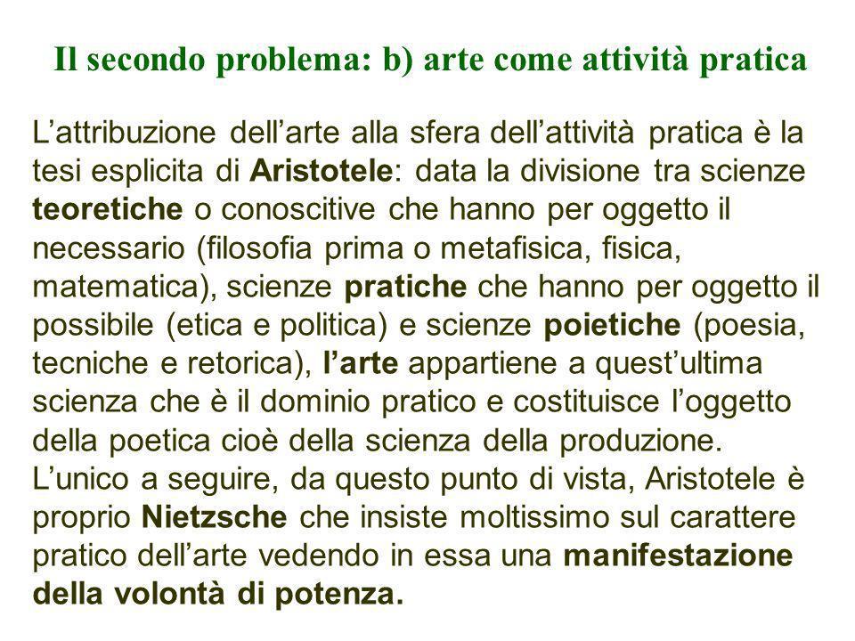 Il secondo problema: b) arte come attività pratica