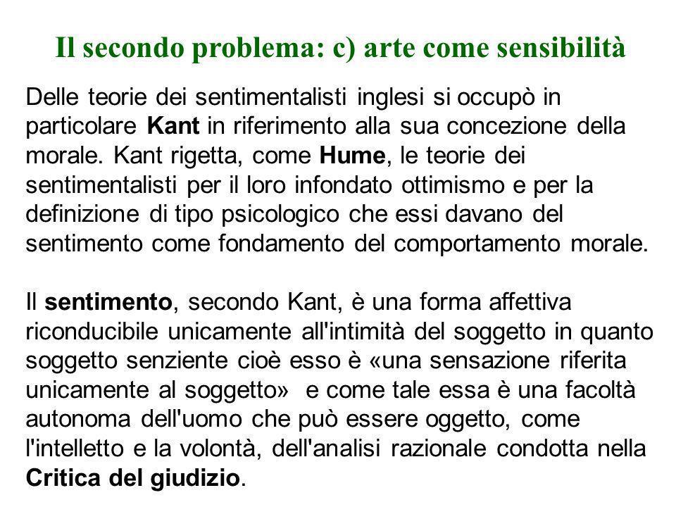 Il secondo problema: c) arte come sensibilità