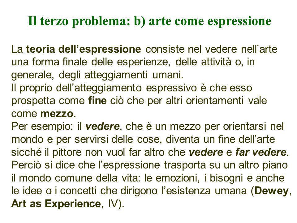 Il terzo problema: b) arte come espressione