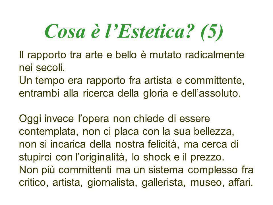 Cosa è l'Estetica (5) Il rapporto tra arte e bello è mutato radicalmente nei secoli.