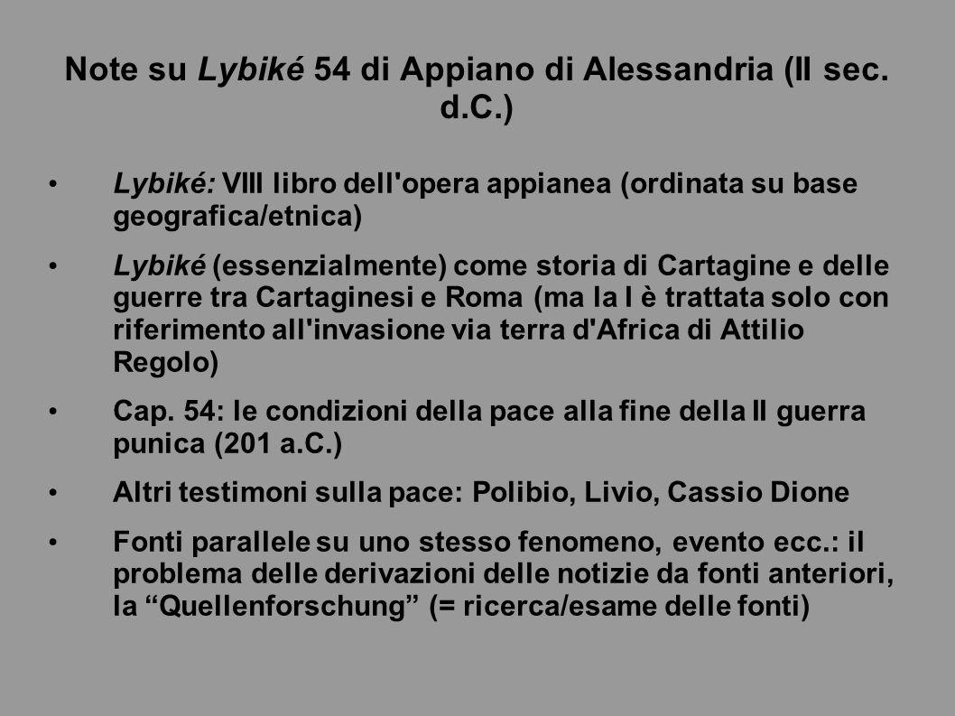 Note su Lybiké 54 di Appiano di Alessandria (II sec. d.C.)