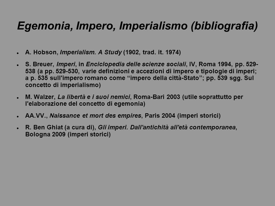 Egemonia, Impero, Imperialismo (bibliografia)