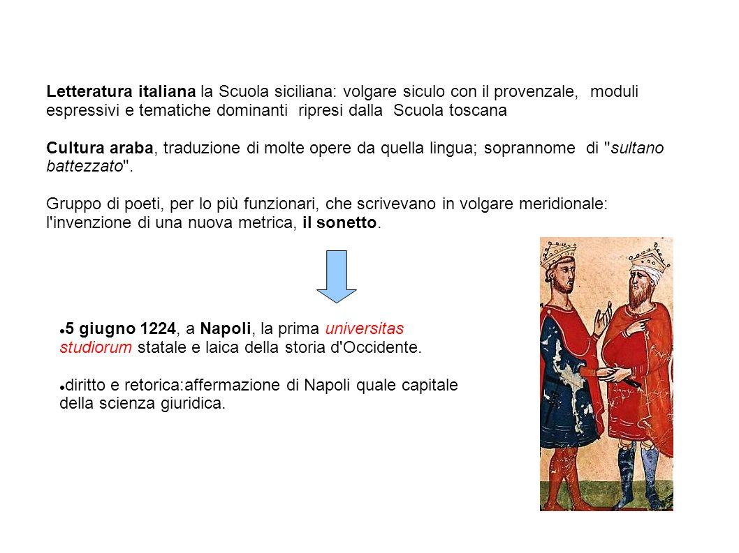 Letteratura italiana la Scuola siciliana: volgare siculo con il provenzale, moduli espressivi e tematiche dominanti ripresi dalla Scuola toscana