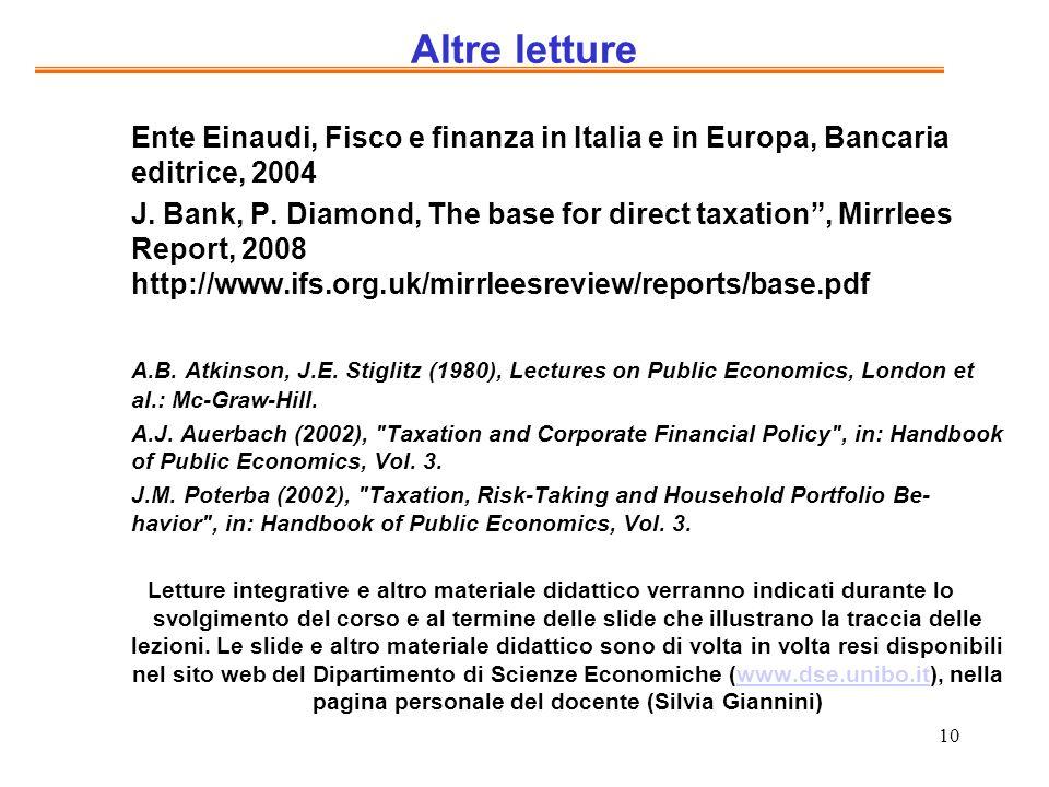 Altre letture Ente Einaudi, Fisco e finanza in Italia e in Europa, Bancaria editrice, 2004.